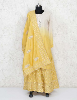 Beige and yellow lehenga suit in cotton