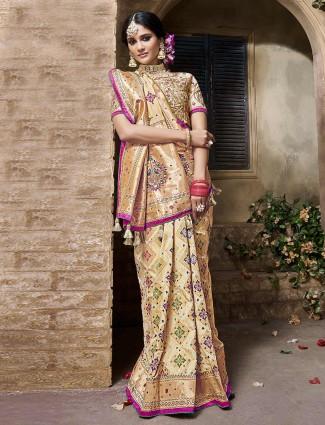 Beige banarasi silk fabric saree