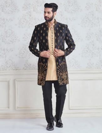 Beige black jacket style indo western in silk fabric