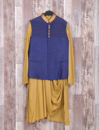 Beige blue wedding wear silk indo western
