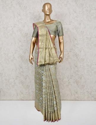 Beige classic cotton banarasi silk saree