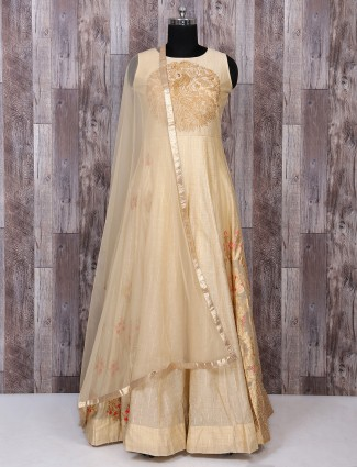 Beige color anarkali wedding wear suit
