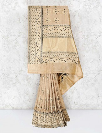 Beige color banarasi semi silk saree