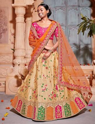 Beige color banarasi silk semi stitched lehenga choli