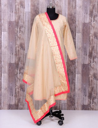 Beige color cotton silk indo western