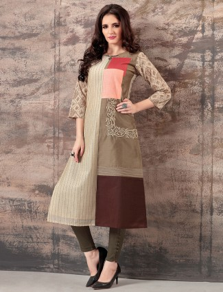 Beige color cotton silk kurti for festive function