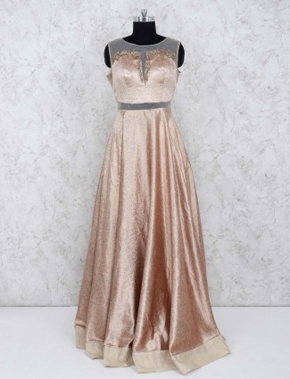 Beige color gown in silk