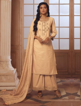 Beige color palazzo suit in cotton silk