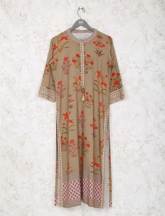 Beige color printed classic kurti in cotton