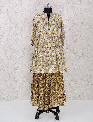 Beige color printed cotton casual wear kurti