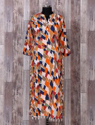 Beige color printed simple kurti