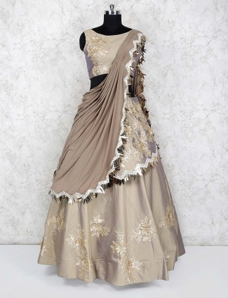 Beige color satin silk wedding lehenga choli