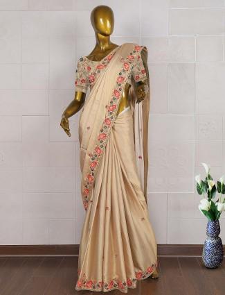 Beige color satin silk wedding saree