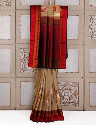 Beige color silk festive wear saree