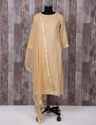 Beige color silk palazzo festive wear suit