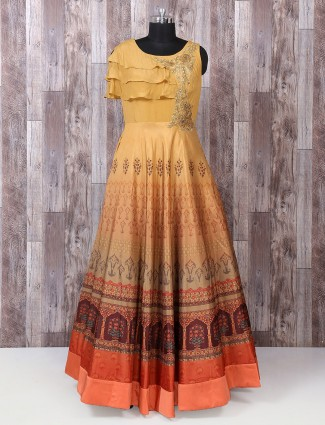 Beige color silk printed gown
