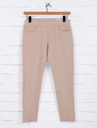 Beige color simple cotton jeggings