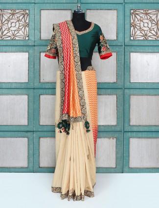 Beige color wedding wear silk fabric saree
