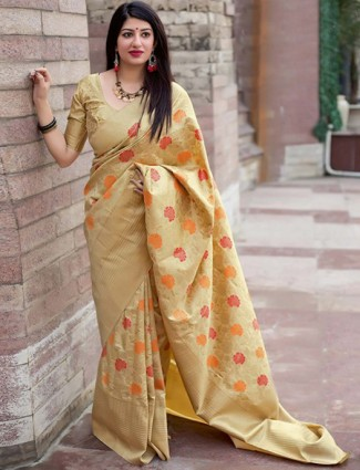 Beige colored semi silk saree for festive wear