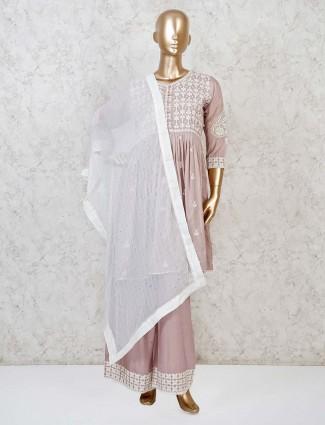Beige cotton casual punjabi palazzo suit