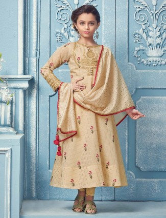 Beige cotton fabric anarkali suit for party