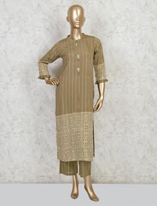 Beige cotton festive salwar suit