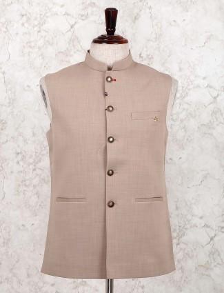 Beige cotton festive wear solid waistcoat
