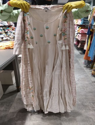 Beige cotton jecket style long kurti