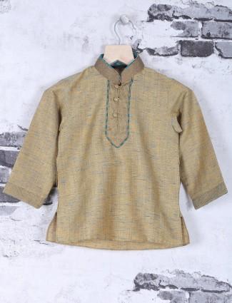 Beige cotton kurta suit for festival