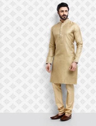 Beige cotton mens kurta suit for festive wear