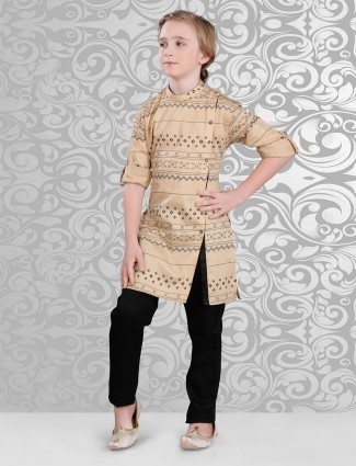 Beige cotton printed festive wear kurta suit