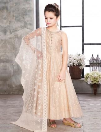 Beige cotton silk anarkali suit for girls
