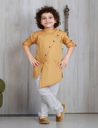 Beige cotton silk party kurta suit