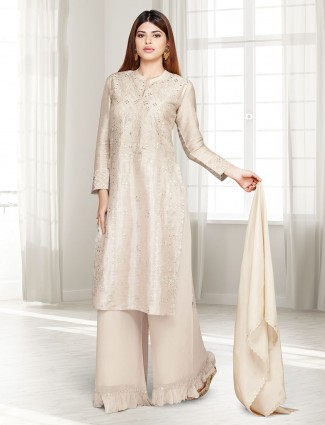 Beige cotton silk party punjabi palazzo suit