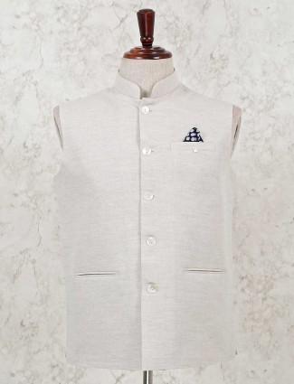 Beige cotton slk waistcoat for mens