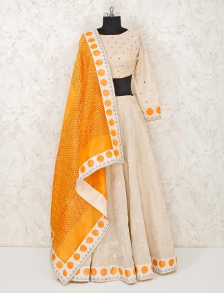 Beige cotton wedding function lehenga choli