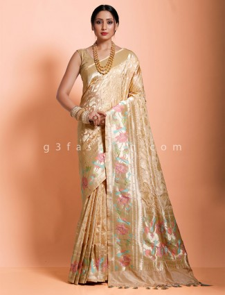 Beige designer saree in hydrabadi patola silk