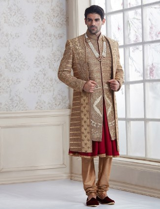 Beige designer silk wedding wear sherwani