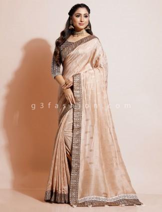 Beige designer wedding wear dola silk saree