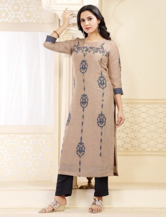 Beige festive cotton silk round neck long kurti