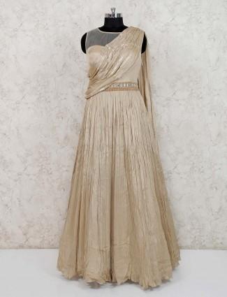 Beige georgette round neck gown