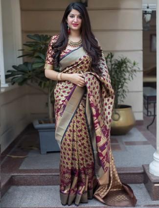 Beige hue banarasi silk printed saree