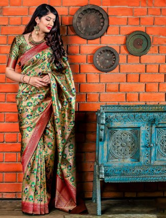 Beige hue banarasi silk wedding wear saree