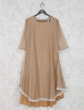 Beige hue checks cotton fabric kurti