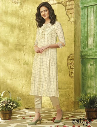 Beige hue checks pattern cotton round neck kurti