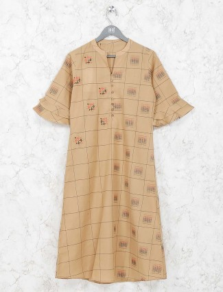 Beige hue colored kurti in cotton