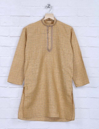Beige hue cotton fabric checks kurta suit
