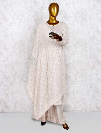 Beige hue cotton punjabi palazzo suit