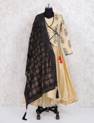 Beige hue cotton silk jacket style sharara suit