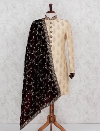 Beige hue designer terry rayon indo western